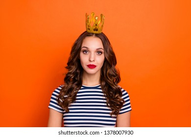 Closeup photo portrait headshot of confident strict attractive she her lady wearing small expensive crown isolated vivid background