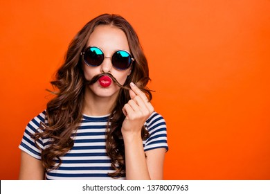 Closeup photo portrait of pretty extravagant eccentric fancy funky glamorous she her lady holding making false beard isolated vivid background copy space