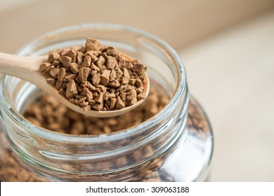 Closeup photo of powdered coffee product, Instant coffee.