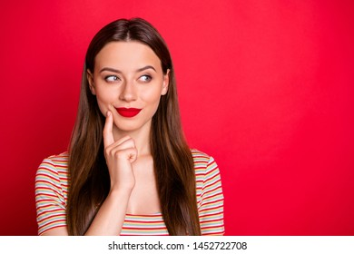Closeup photo of pretty lady look wondered empty space wear casual outfit isolated burgundy background