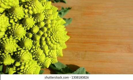 Closeup photo of rare green romanesque cauliflower