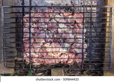 Close-up photo of the raw meat on grill
