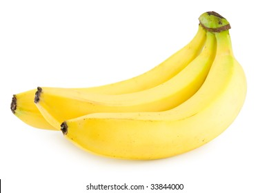 a closeup photo of ripe bananas isolated  with a shadow on a white background