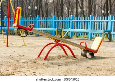 Close-up photo of seesaw in the park