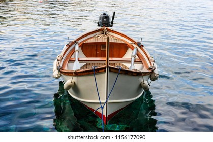 Close-up photo of a small boat in the oldest town in Cinque Terre - Manarola.