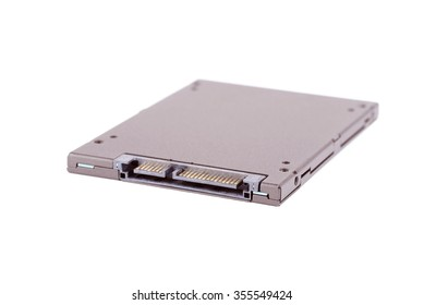 Closeup photo of a SSD on white background