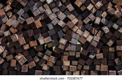 Close-up photo of a stack of railroad ties.