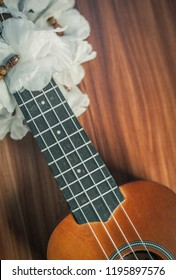 closeup photo of a ukulele against a brown background