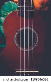 closeup photo of a ukulele against a Hawaiian background