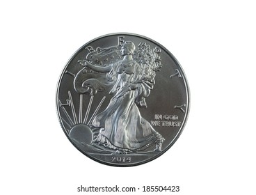 Closeup photo of an uncirculated condition American Silver Eagle Dollar isolated on white
