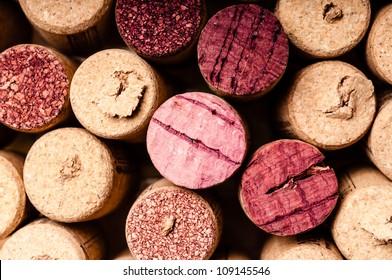 Closeup photo of used wine bottle corks