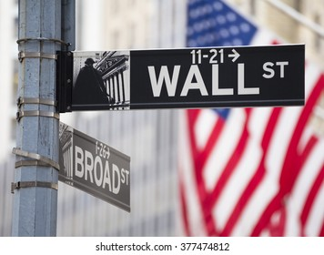 Close-up photo of a Wall Street Sign in Wall Street, Manhattan, USA.