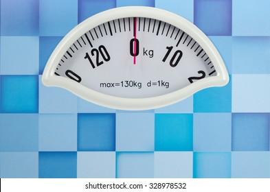 Closeup photo of weight scale showing zero
