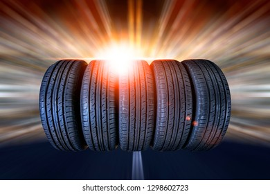 Close-up photo of Wheels on the road . Rubber product .