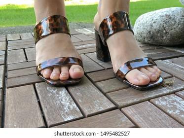 Closeup photo of woman feet in design fashion sandal standing on backyard deck