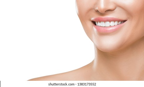 Closeup photo of woman's smile with white healthy teeth, isolated on white background. Teeth health concept