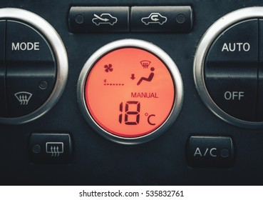 Closeup photo of working car climate control system. air auto conditioning