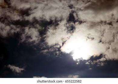 a close-up photograph of the sun that illuminates the cloud. blue sky