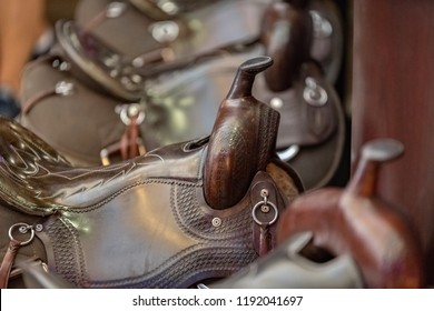 close-up photograph of a western saddle