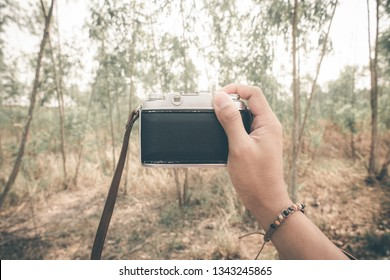Closeup photographer's hand taking photo in the forest. Travel concept.