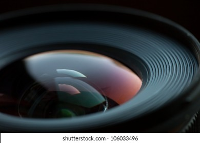 Closeup of a photographic lens