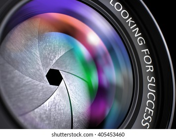 Closeup Photographic Lens with text Looking For Success. Lens Reflections. Selective Focus. Looking For Success - Concept on Professional Photo Lens, Closeup. 3D Illustration.
