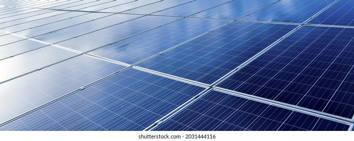 closeup photovoltaic panels which installed on the rooftop of the building, concept for storing and using natural power from the sunlight to care about human environment over the world.