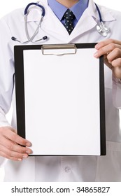 Close-up of physician showing blank paper in hands