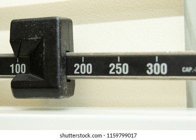 Closeup of a physician's beam scale
