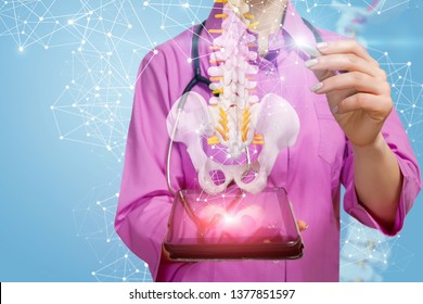A closeup of physiotherapist with stethoscope pointing at a spine model with pelvis element hanging above a gadget with wireless connections around. The concept of innovative spine diseases treatment.
