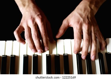 close-up to pianist's hands