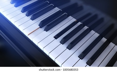 Close-up of a Piano keyboard. 3D illustration