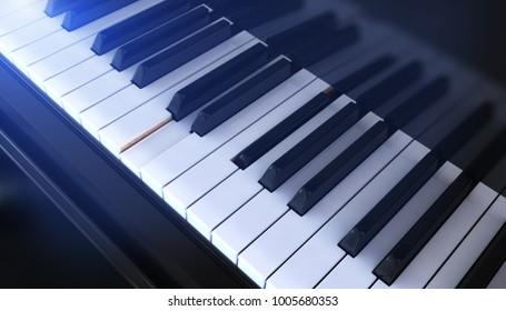 Close-up of a Piano keyboard. 3D illustration