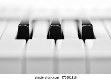 Close-up of piano keyboard. Close frontal view