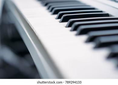 Close-up of piano keys.