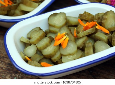 closeup with pickles in a pot