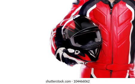 Closeup picture of a biker holding his helmet on white background