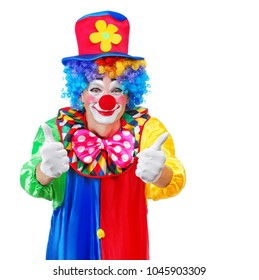 Closeup picture of a clown showing thumbs up gesture