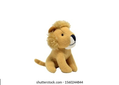 Closeup Picture of Cute Baby Lion Plushy Isolated on White Background