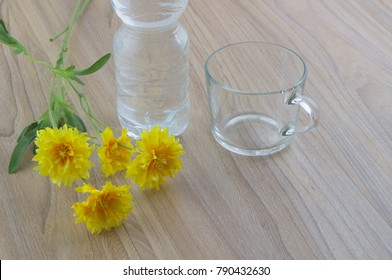 Close-up picture of a empty glass of water, bottle water and flowers on the wood table in natural background.