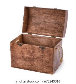Close-up picture of a light brown pretty chest. Large spacious empty chest with ropes on isolated background. Opened wooden box for various colorful toys on a white background.