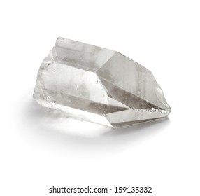 Closeup picture of pure quartz (crystal rock) mineral gemstone isolated on white background.