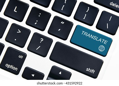Closeup picture of translate button on a modern keyboard.