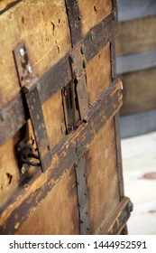 Close-up picture of vintage brown wooden chest