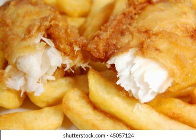 Closeup of a piece of cod broken into two pieces