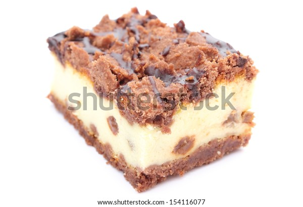 Closeup of piece of fresh, delicious cheesecake on white background