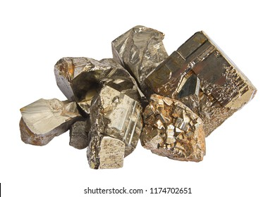 Close-up of pieces of raw pyrite crystals isolated on white background. Texture of crystals of pyrite. Selective focus