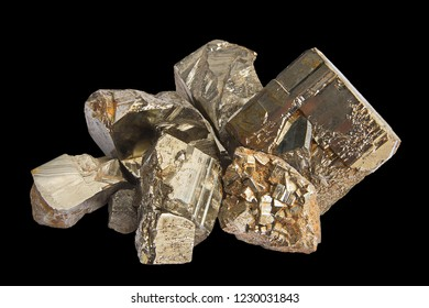 Close-up of pieces of raw pyrite crystals isolated on black background. Texture of crystals of pyrite. Selective focus