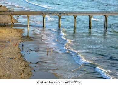 Closeup of the Pier and shoreline near the Scripps Institute. The coast of California near the Scripps pier