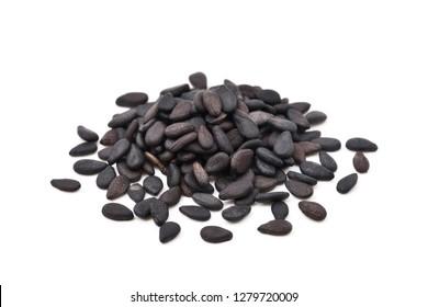 Close-up pile of  Black sesame isolated on white background.